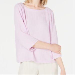 EILEEN FISHER Organic Cotton 3/4-sleeve Top S/P